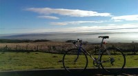 Head above the clouds this morning. 1st ride of the next years metric century challenge done — at Tak Me Doon Road.